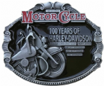 100 Years of Harley Davidson Motorcycle Belt Buckle with display stand. SG8